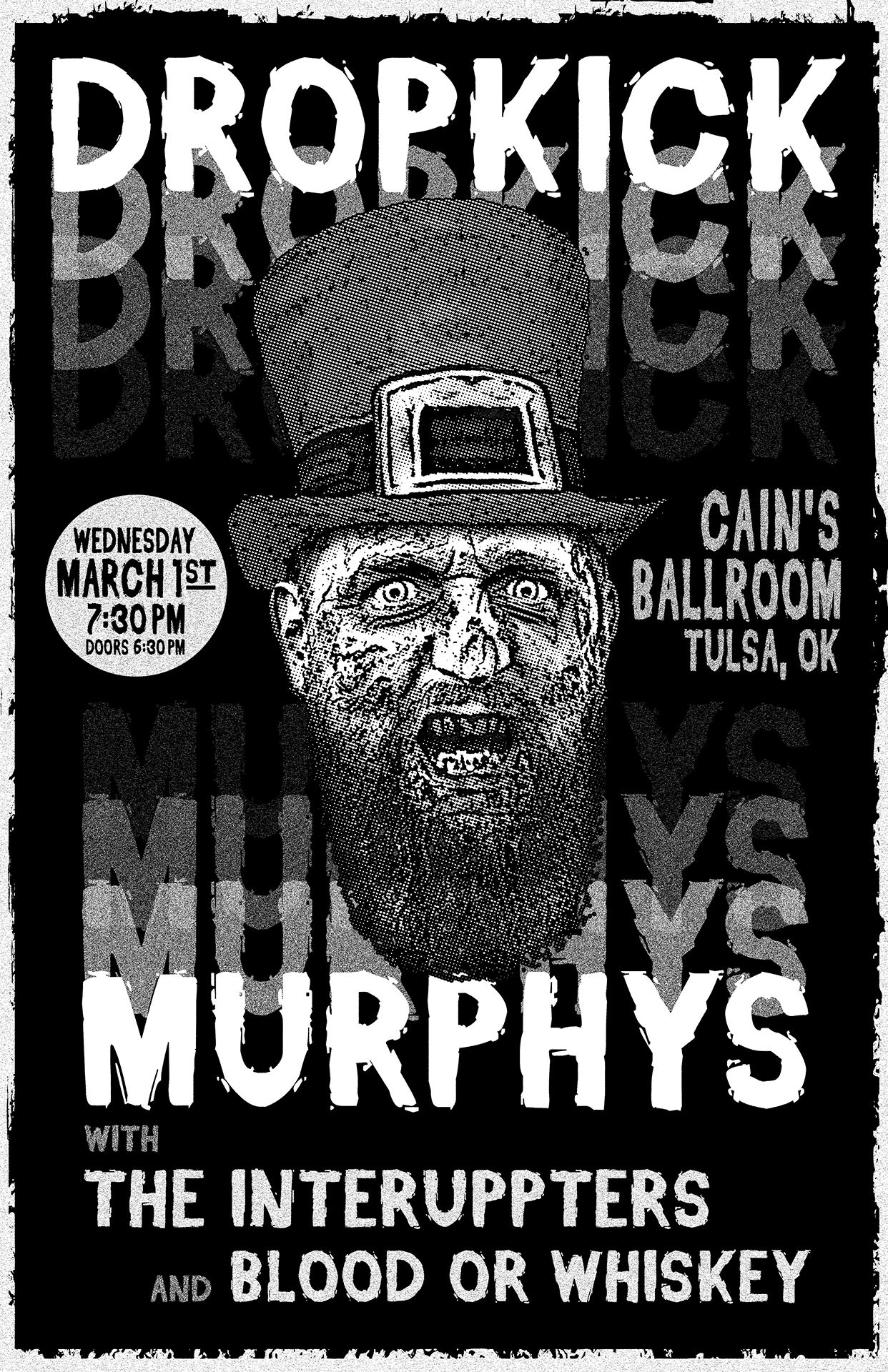 sam broom dropkick murphys gig poster graphic design print black and white punk rock