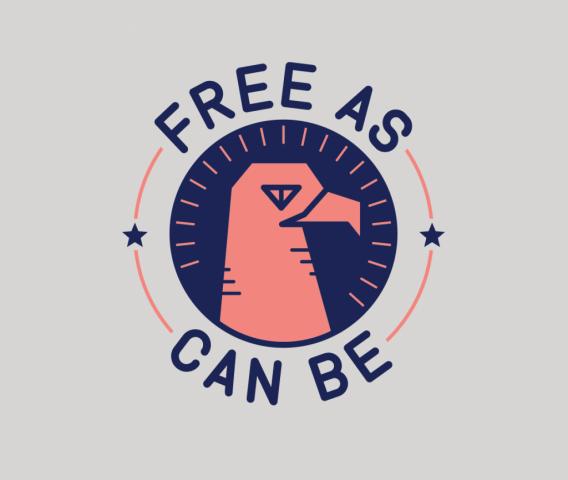 sam broom free as can be eagle illustration graphic design badge america usa americana