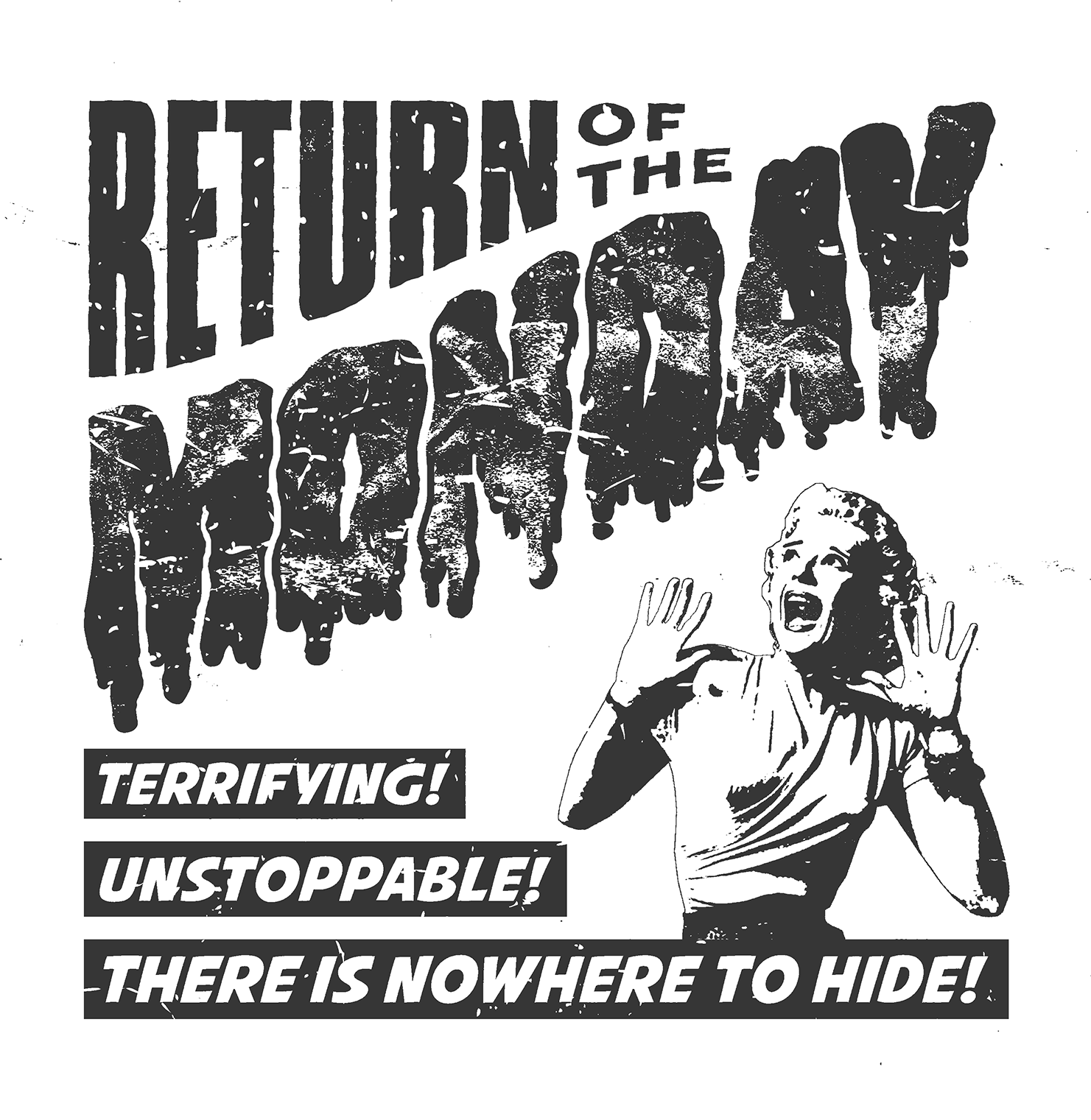 sam broom return of the monday 1950s horror b-movie graphic design hand lettering