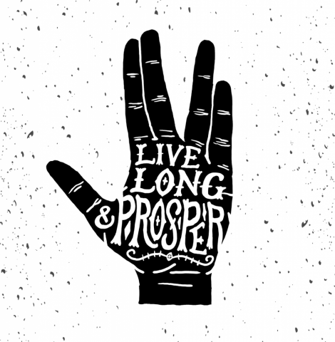 sam broom illustration hand lettering star trek spock vulcan live long and prosper graphic design